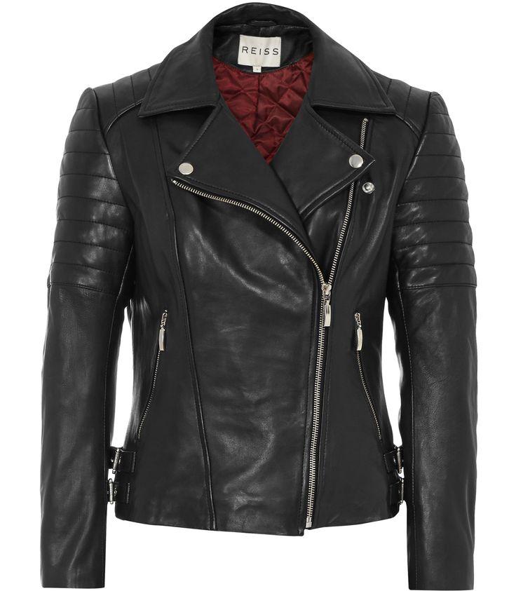Reiss topaz women 39 s black quilted leather biker jacket for Garderobe jacke