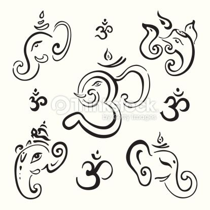 Arte vectorial : Ganesha Hand drawn illustration.