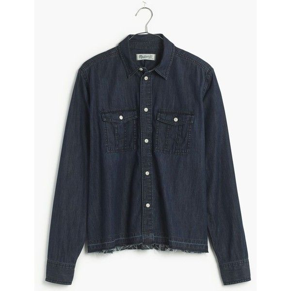 MADEWELL Drop-Hem Denim Shirt in Dark Indigo (£52) ❤ liked on Polyvore featuring tops, dark indigo, button down shirt, madewell shirt, button down tops, button up shirts and denim button down top