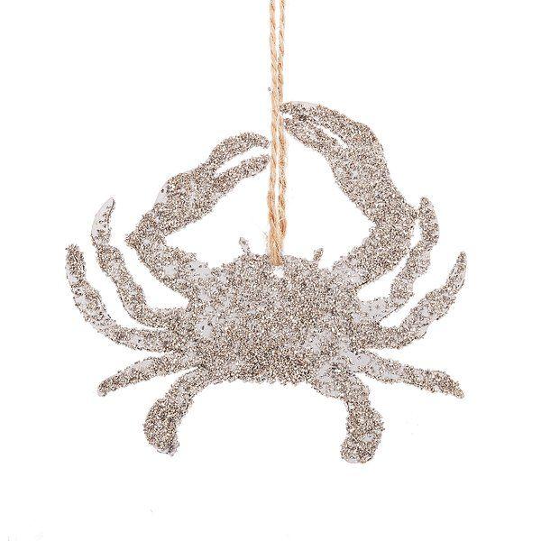 Glittered Crab Hanging Figurine Silhouette Ornaments Sand Dollar Ornament Crab Ornament