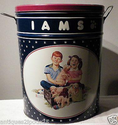 Vintage 1992 Iams 5 Gallon Tin Can Pet Food Storage
