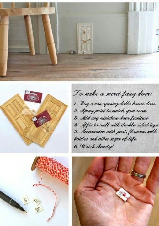 DIY fairy door. @Sarah Ensz I like the little mail. And the idea of milk bottles.