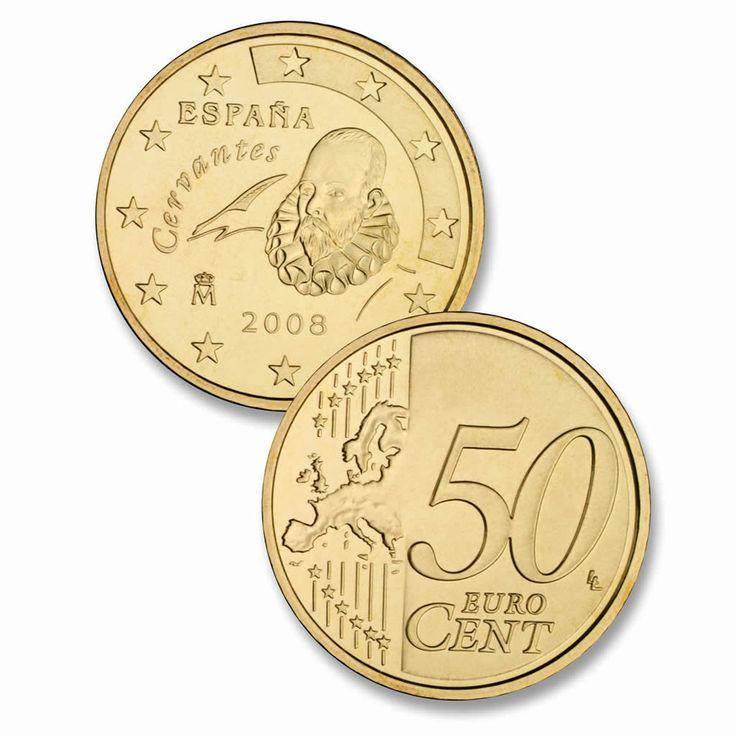 cervantes aparece en algunas monedas, como la de 50 céntimos