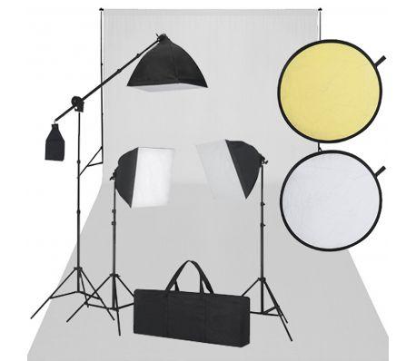 Fotostudio set met witdoek 3 daglichtlampen en reflectorset [2/6]