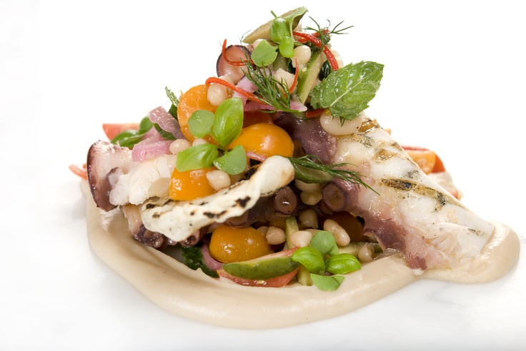 POLIPO ALLA GRIGLIA CON POMODORINI, OLIVE NERE E CIPOLLINE ROSSE    Pieuvre grillée, purée de haricots blancs, tomates cerise, olives verte, oignons rouge marinés et foccacia    Grilled octopus, navy bean puree, cherry tomatoes, green olives, pickled red onion and pulled foccacia
