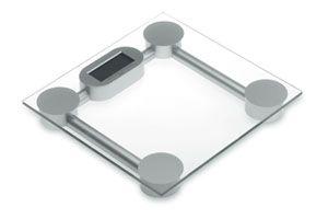 Elegante balanza electrónica en vidrio de seguridad y pantalla LCD. Peso máximo 150kg.