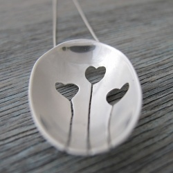 Hand pierced and cut from the bowl of an antique silver teaspoon, each Love Heart Pendant is a unique one of a kind creation.