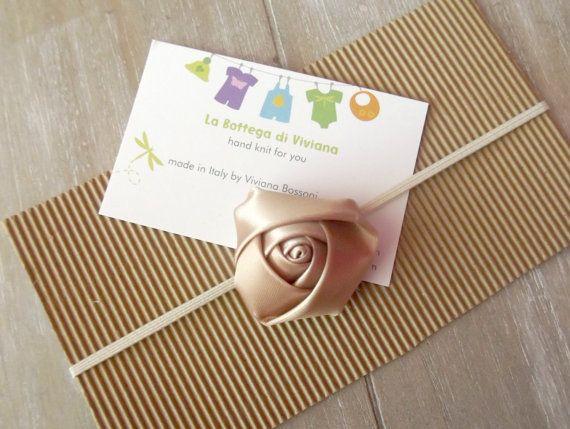 Photo props Newborn tan Headband flower by LaBottegaDiViviana, €3.50