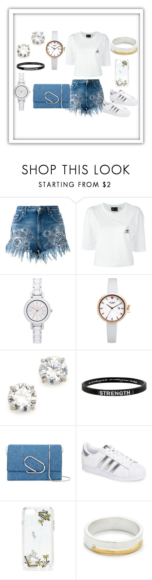 """Denim"" by paige-brrian ❤ liked on Polyvore featuring Versus, adidas, DKNY, Kate Spade, Kenneth Jay Lane, Peace Love World, 3.1 Phillip Lim, Rebecca Minkoff and Maya Magal"