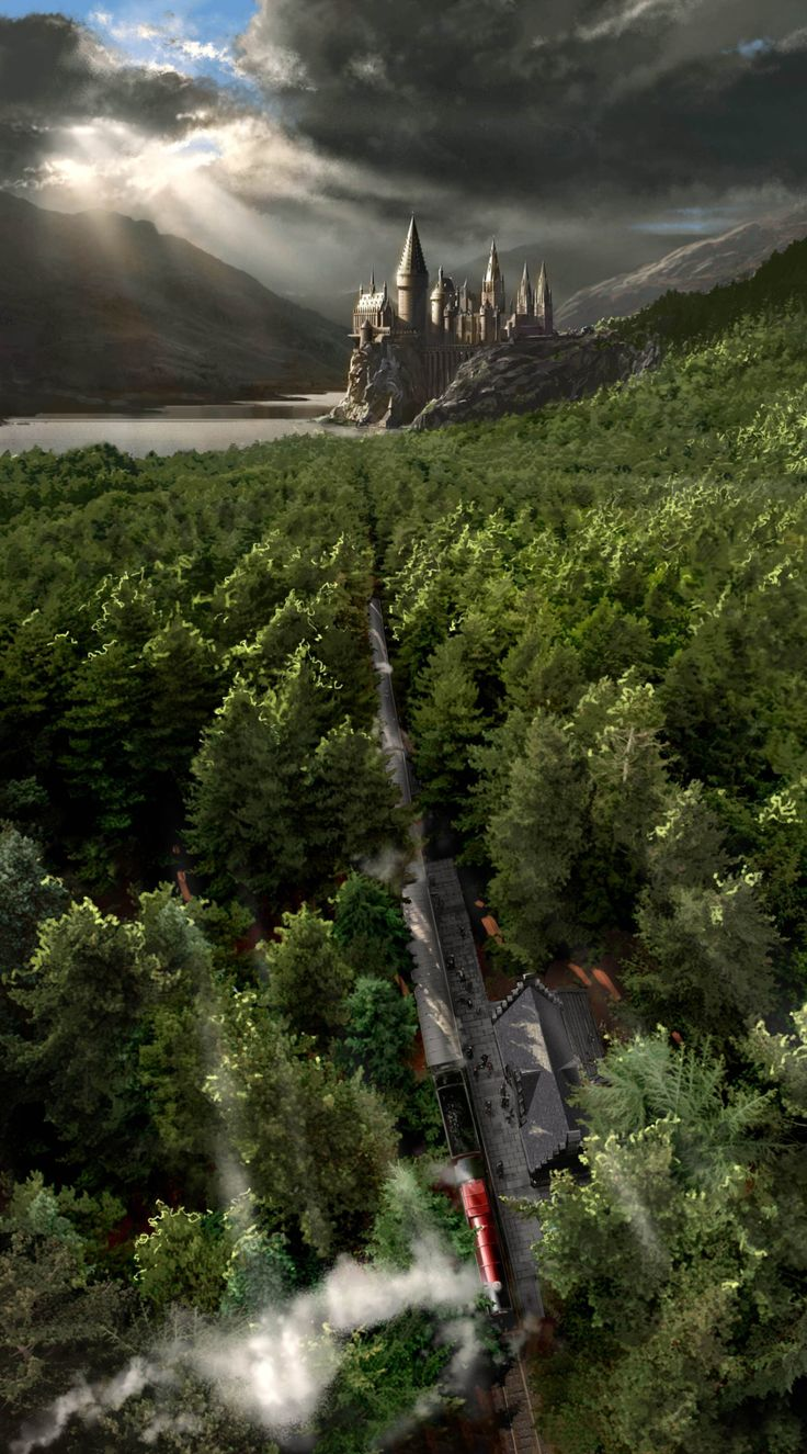 A view of Hogwarts school and Hogsmeade station Harry