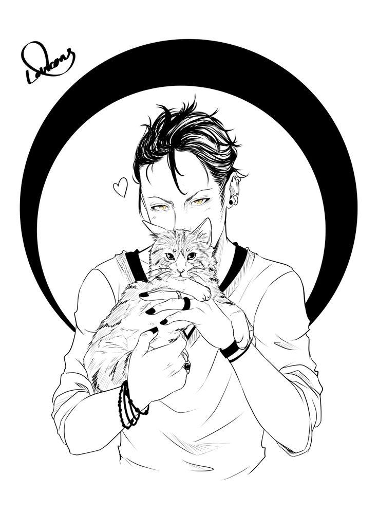 Loweana (Black Hana) — Digital Inktober n°6 : Magnus Bane & Chairman Meow...