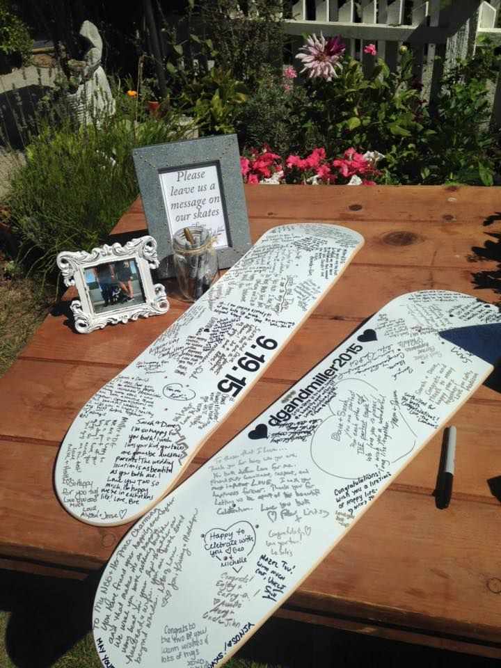 Super cute idea for notes from guests for a skateboarding couple!