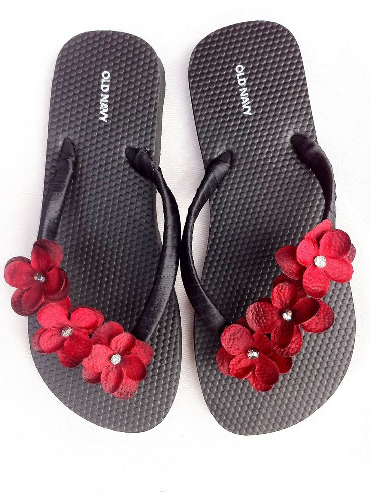 """The """"Christina"""" Black Flip Flop Sandal with red flowers - great for beach - wedding - bridesmaid gift. $20.00, via Etsy.  Crafters can make these!"""