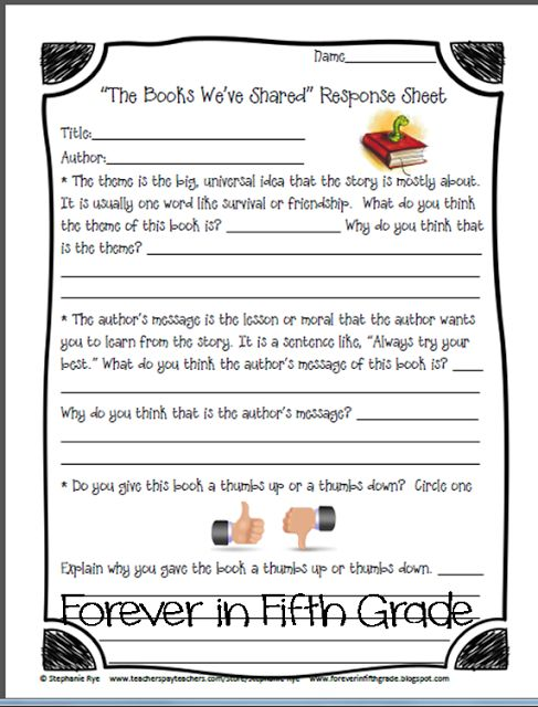 """Forever in Fifth Grade: Free """"The Books We've Shared"""" Response sheet!"""