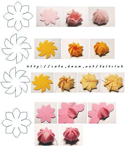 Tres flores de fieltro paso a paso con plantilla