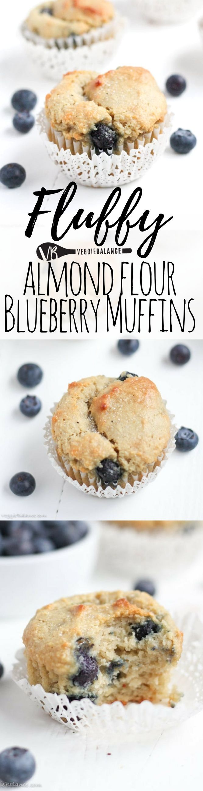 Gluten Free Blueberry Muffins with protein packed almond flour. Just 7-Ingredients, gluten-free, refined sugar-free, dairy-free, and low-sugar. Yum