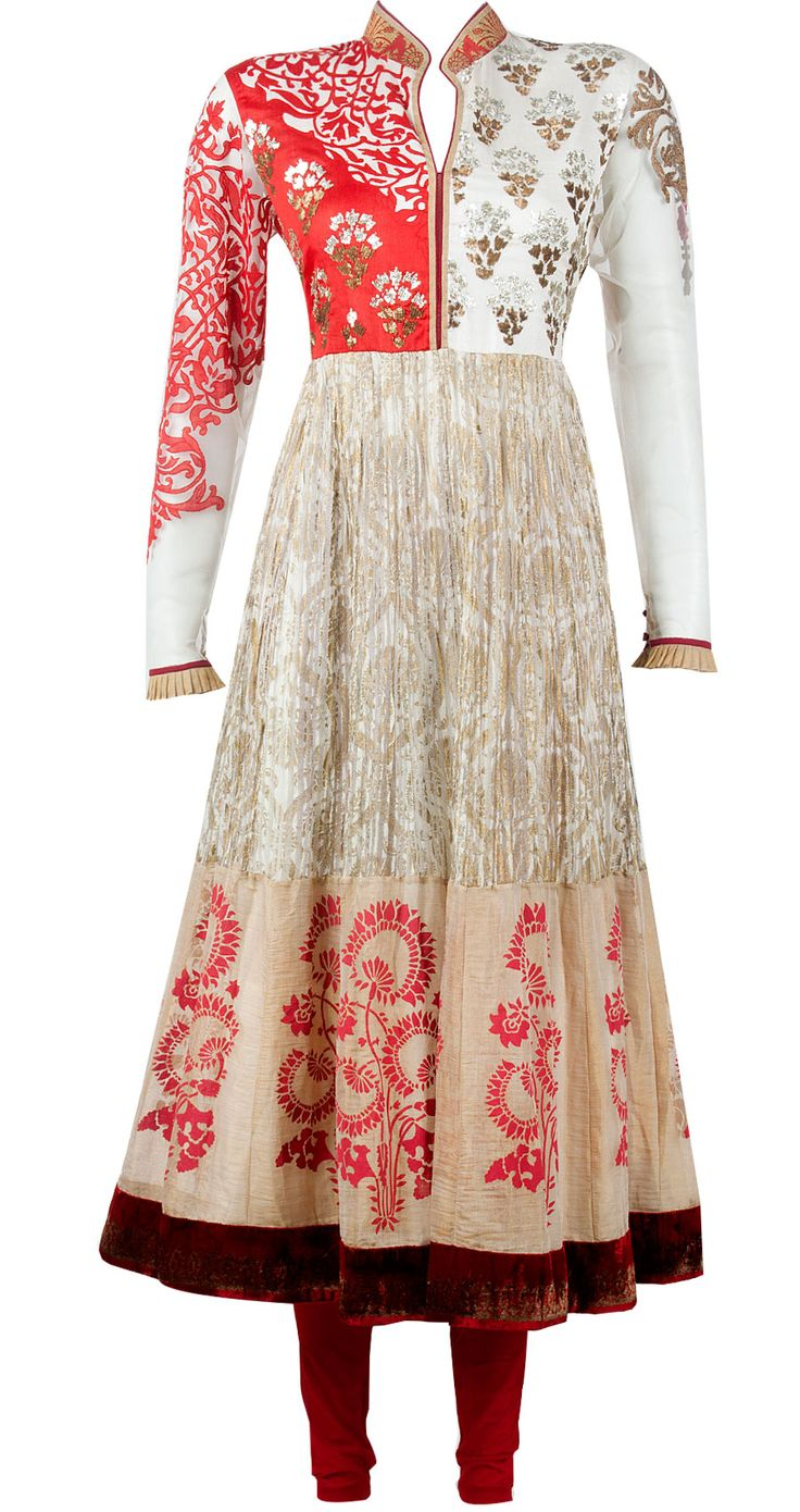 Ivory and red printed silk net kurta set available only at Pernia's Pop-Up Shop.