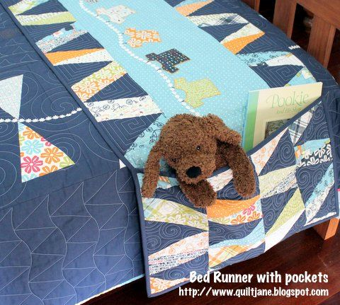 Moda Bake Shop: Home Décor  Bed runner with pockets.  You know when a child first begins to sleep in a twin bed and there is all that extra space at the foot of the mattress?  As the photo shows this is a great idea for keeping books and stuffed animals close by.
