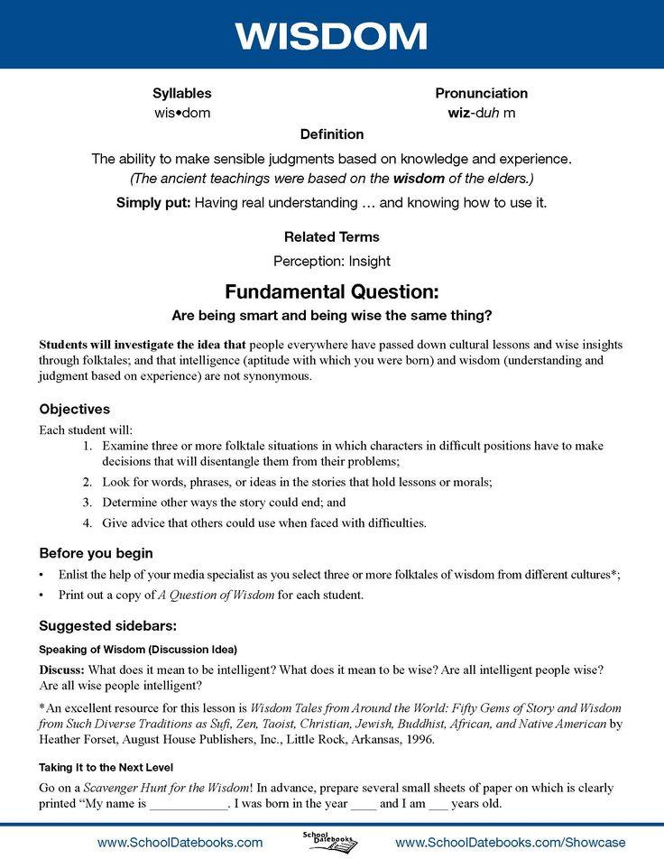 School Datebooks-Character Education Lesson Plan-wisdom