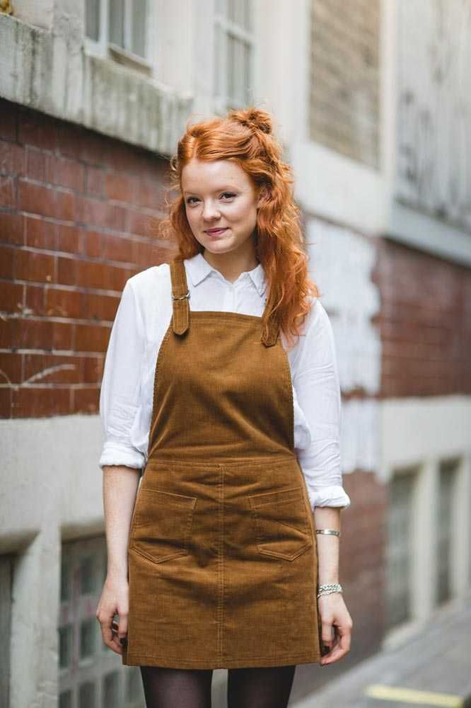 Rosin Kay, Features Intern Beyond Retro pinafore dungaree dress, Zara shirt, Adidas trainers  What ELLE Wears to Work, London Street Style Outfit inspiration 2015.