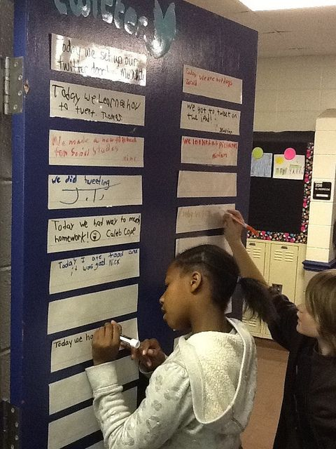 """Twitter Door"" -Have a laminated strip for every child and they get time to update status about something they learned, liked or happened during school that day! Gets them writing and ties in something they're probably already interested in! ""What would the main character post on Facebook?"""