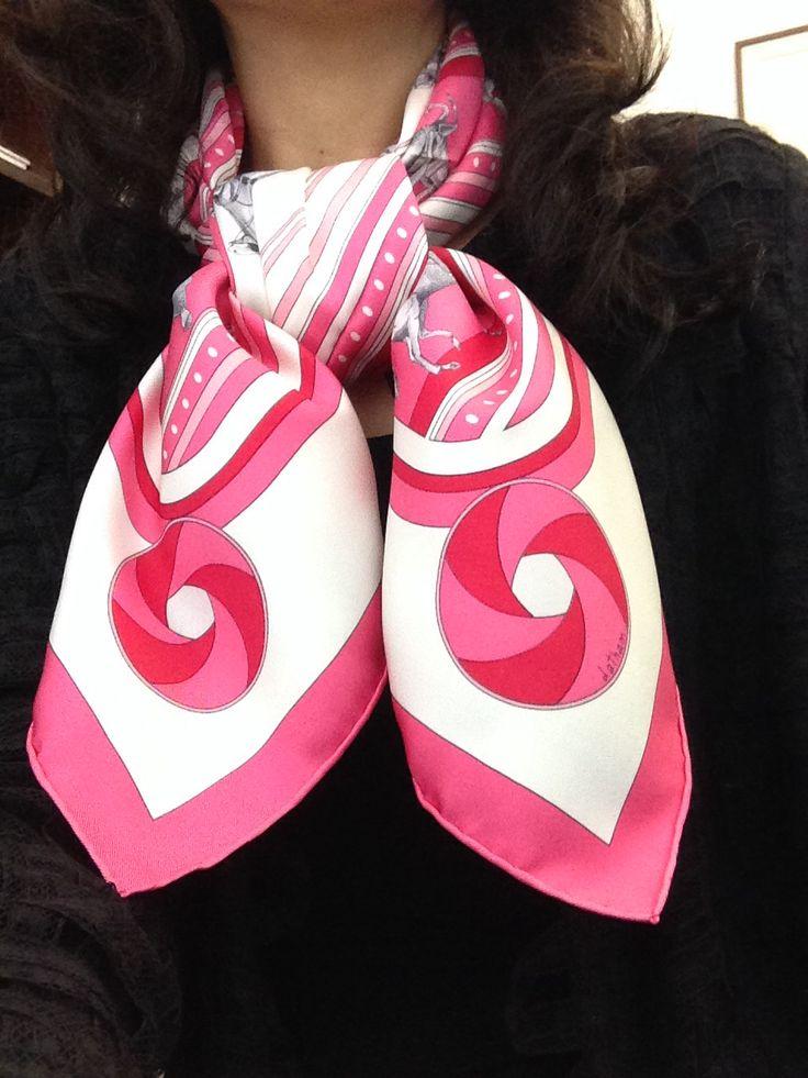 Chanel little black lace jacket | Hermes silk twill scarf