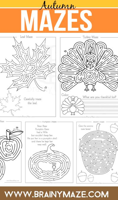 A collection of Fall themed mazes and worksheets for kids. Featuring a Thanksgiving turkey, pumpkin, Autumn leaf, acorn, and apples.