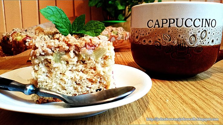 Jedz zdrowo żyj zdrowo: 40% Pełnoziarniste ciasto drożdżowe z rabarbarem bez zagniatania.