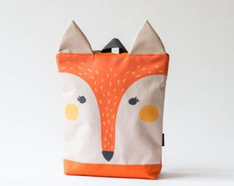 Morral, mochila para niños, niños morral, mochila impermeable impreso del zorro