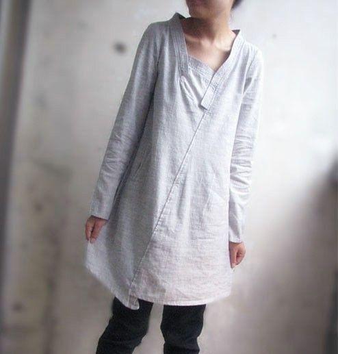 Lovely Asymmetrical Linen Dress/ 27 Colors/ Any Size di Ramies