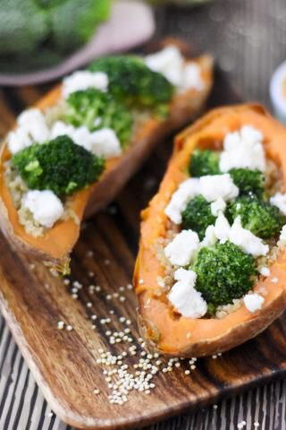 Patate douce farcie quinoa et brocoli