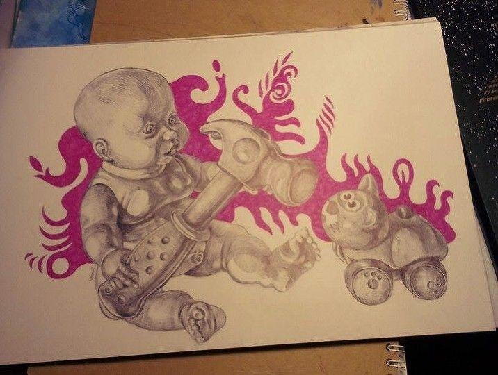 #baby #hammer #weird #cat #drawing #surreal #creepy #Laz #pen #ballpoint