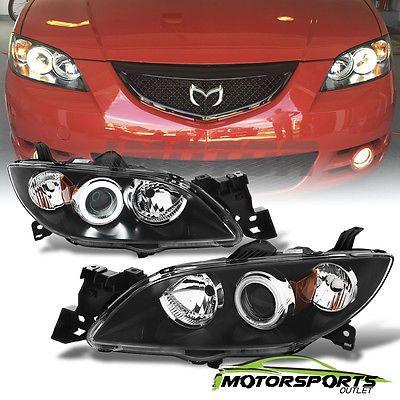Halo CCFL [] 2004-2009 Mazda 3 Sedan Proyector Faros Cabeza Lámparas Par Negro
