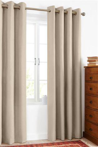 Natural Cotton Blackout Eyelet Curtains