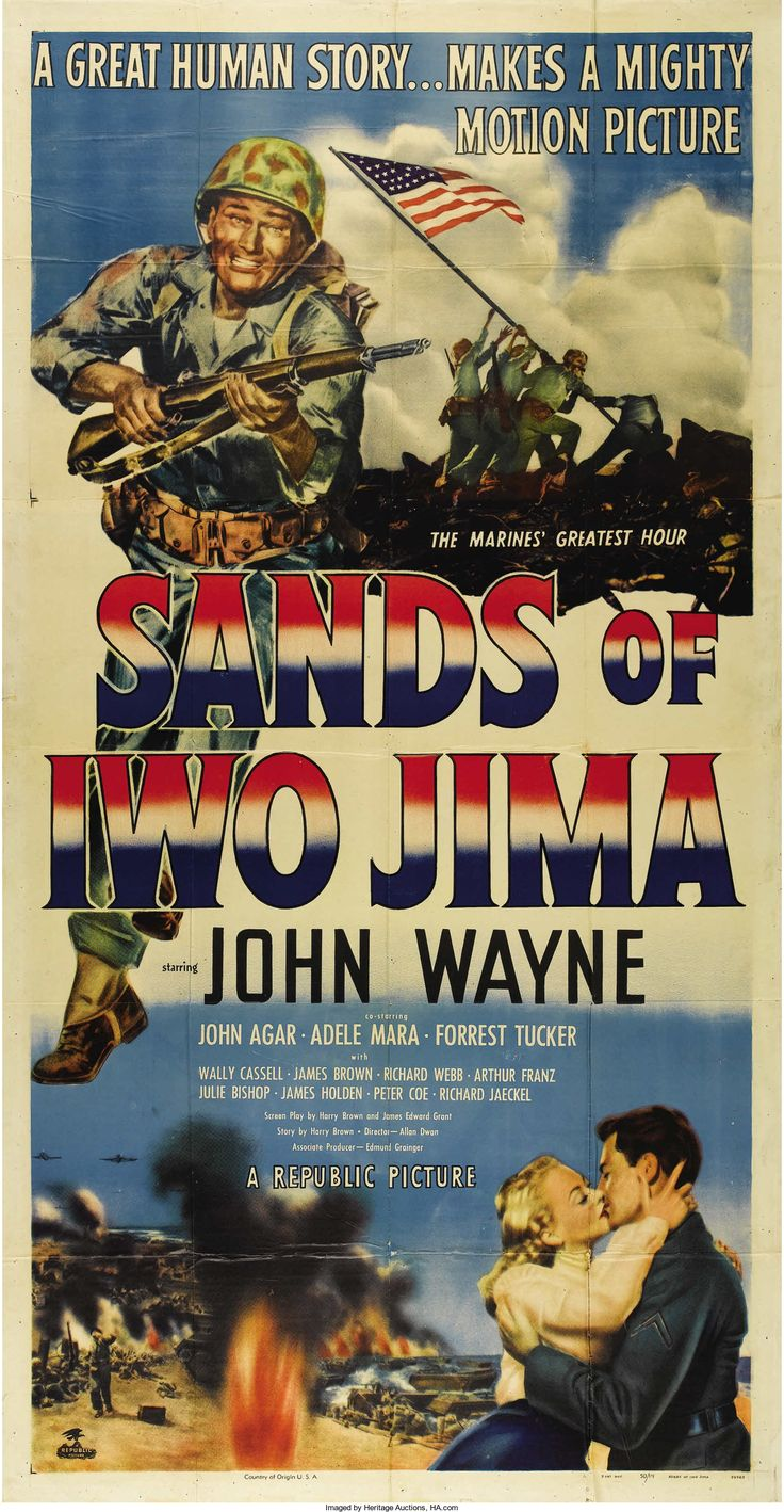 """ands of Iwo Jima (Republic, 1950). Three Sheet (41"""" X 81""""). John Wayne stars as Sergeant John Stryker in this patriotic war picture about the Marine Corps"""