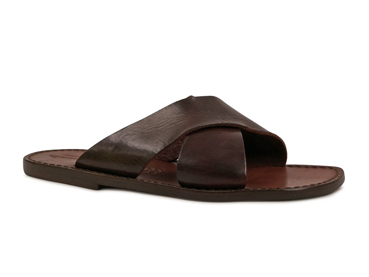 Mens leather slippers handmade in Italy in dark brown leather - Italian Boutique $73