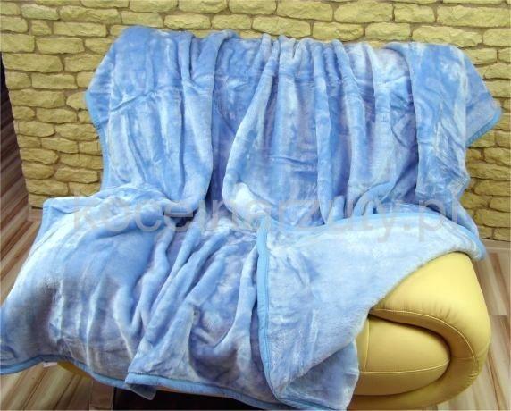 Niebieskie koce akrylowe jednokolorowe