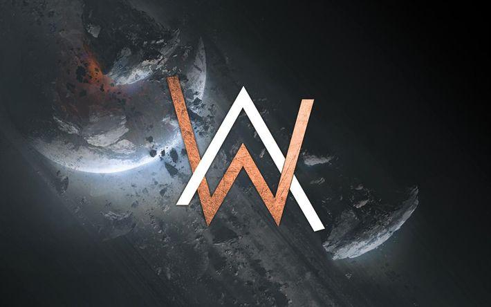 Herunterladen hintergrundbild alan walker, dj, logo, superstars, haus