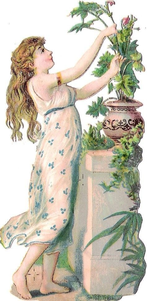 Oblaten Glanzbild scrap die cut chromo Lady Dame Frau  femme Garten greek garden