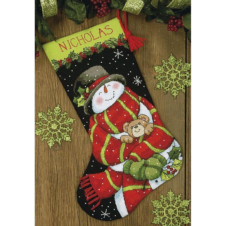 "Dimensions Stocking Needlepoint Kit 16""Snowman&Bear"