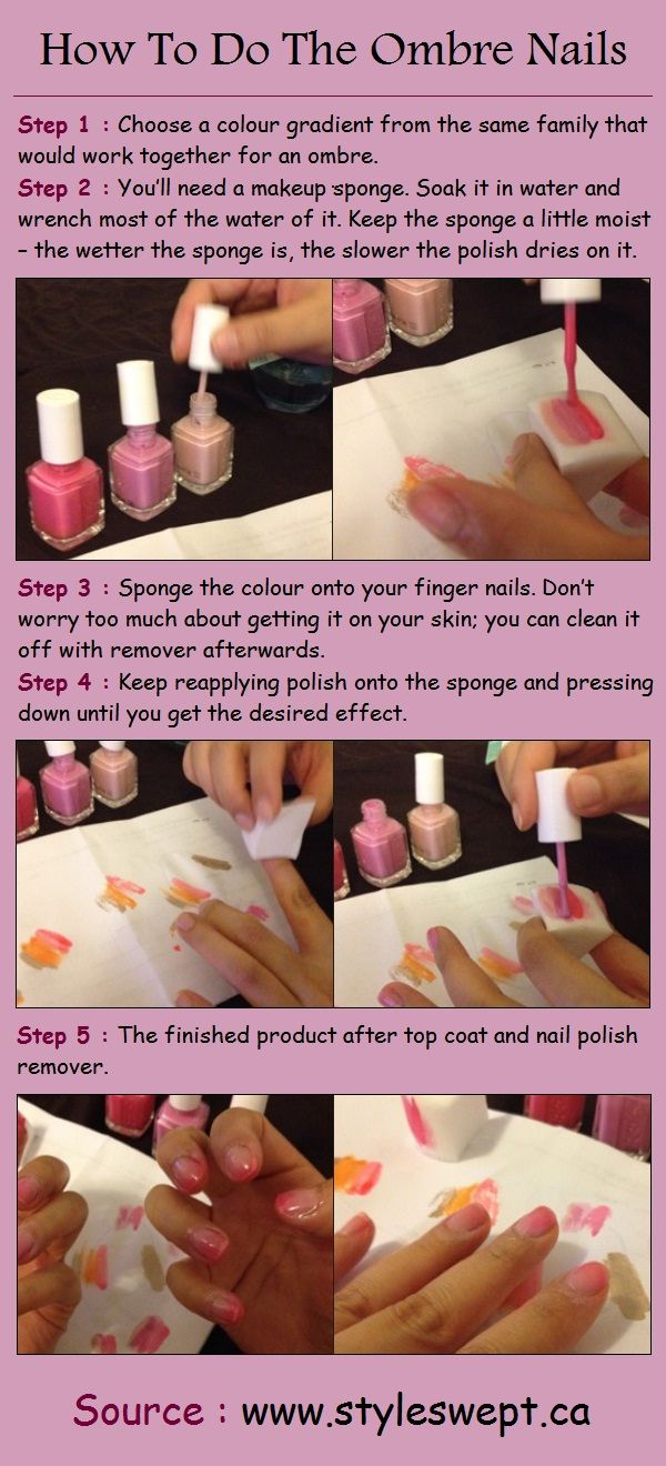 How To Do The Ombre Nails--really easy. i would probably do a solid coat of the lightest color before doing this though, so my natural nail wouldn't show through.