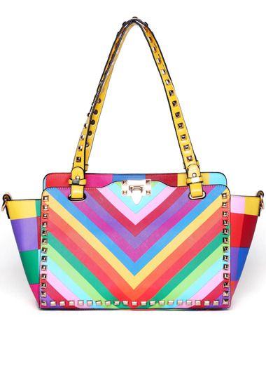 Multicolor With Rivet Buckle Shoulder Bag