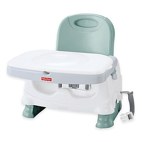 The Fisher-Price Healthy Care Deluxe Booster Seat is a portable, folding booster seat that helps keep your baby's feeding surface clean and sanitized, plus it has all the other features toddlers need.