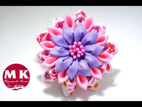 Мастер-класс Канзаши. Резинка для волос.Цветок Канзаши.