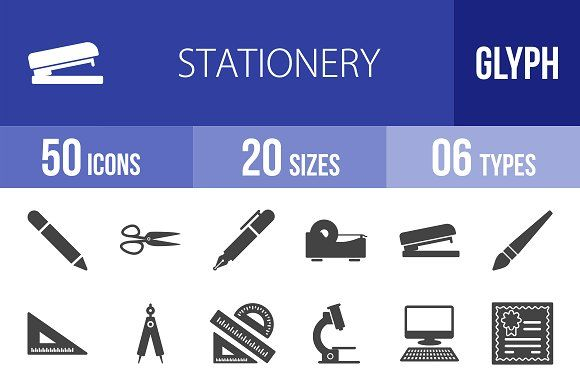 50 Stationery Glyph Icons @creativework247