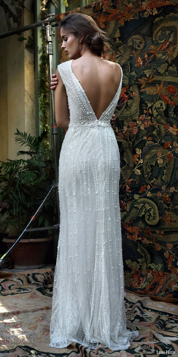 lihi hod bridal 2016 mia cap sleeve beaded v neck wedding dress bodice deep open back