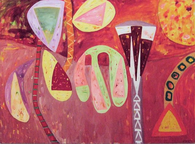 "Gillian Ayres Painting ""Sang The Sun In Flight"". by Jim Linwood, via Flickr"