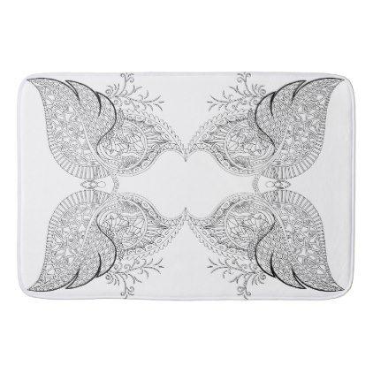 White matt with black fineliner drawing bathroom mat - bathroom idea ideas home & living diy cyo bath