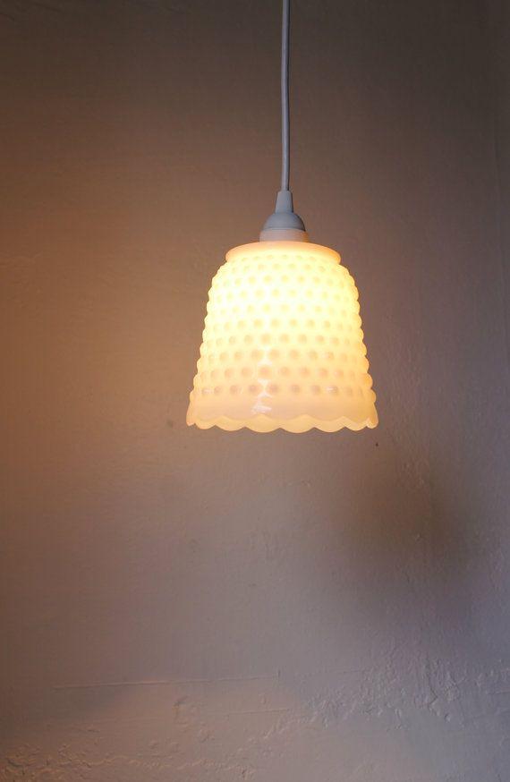 Igloo - Medium Sized Milkglass Hobnail Fire King Hanging Pendant Light Lamp Shade - UpCycled BootsNGus Lighting Fixture 55.00