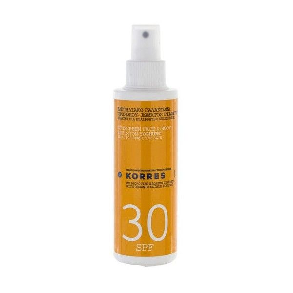Korres Yoghurt Sunscreen Face and Body Emulsion SPF30 (150ml) (€26) ❤ liked on Polyvore featuring beauty products, bath & body products, sun care and korres
